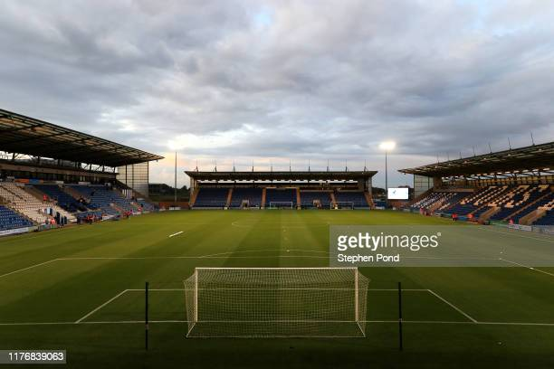 General view inside the stadium prior to the Carabao Cup Third Round match between Colchester United and Tottenham Hotspur at JobServe Community...