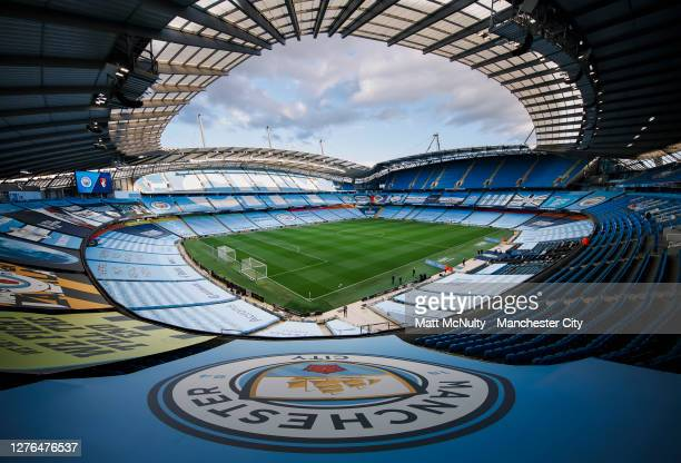 General view inside the stadium prior to the Carabao Cup third round match between Manchester City and AFC Bournemouth at Etihad Stadium on September...