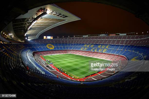 General view inside the stadium prior to the Copa del Rey semifinal first leg match between FC Barcelona and Valencia CF at Camp Nou on February 1...