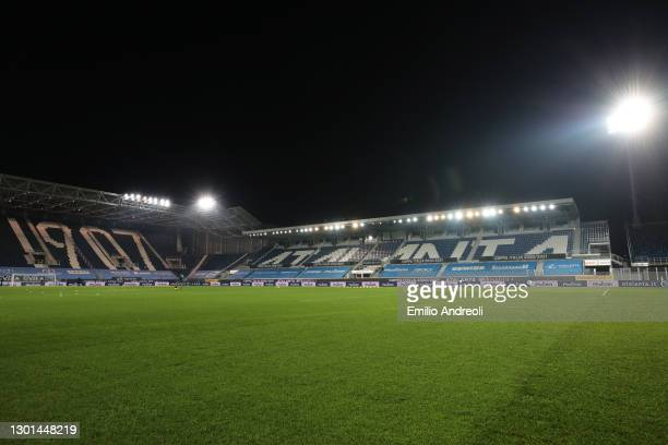 General view inside the stadium prior to the Coppa Italia match between Atalanta BC and SSC Napoli at Gewiss Stadium on February 10, 2021 in Bergamo,...