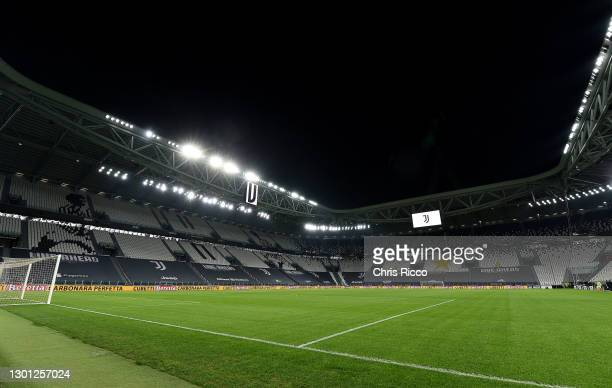 General view inside the stadium prior to the Coppa Italia semi-final Juventus and FC Internazionale at Allianz Stadium on February 09, 2021 in Turin,...