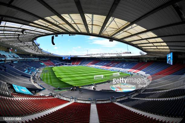 General view inside the stadium prior to the Czech Republic Training Session ahead of the UEFA Euro 2020 Group D match between Scotland and Czech...