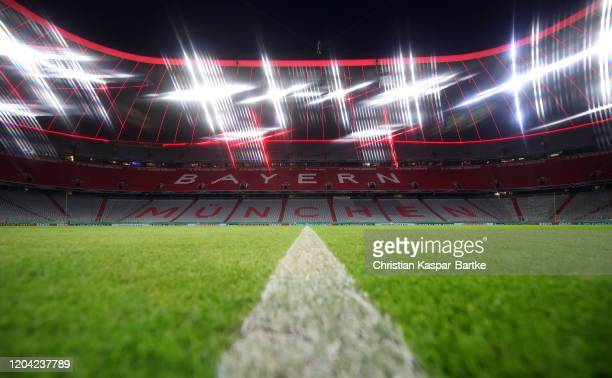 General view inside the stadium prior to the DFB Cup round of sixteen match between FC Bayern Muenchen and TSG 1899 Hoffenheim at Allianz Arena on...