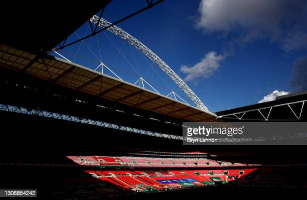 General view inside the stadium prior to the EFL Trophy Final at Wembley Stadium on March 13, 2021 in London, England. The teams were due to meet in...