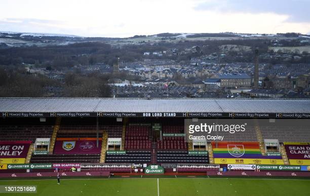 General view inside the stadium prior to The Emirates FA Cup Fifth Round match between Burnley and AFC Bournemouth at Turf Moor on February 09, 2021...