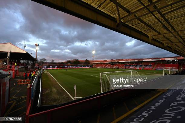General view inside the stadium prior to The Emirates FA Cup Fourth Round match between Cheltenham Town and Manchester City at Jonny Rocks Stadium on...