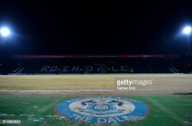 General view inside the stadium prior to The Emirates FA Cup Fourth Round match between Rochdale AFC and Millwall at Spotland Stadium on February 6...
