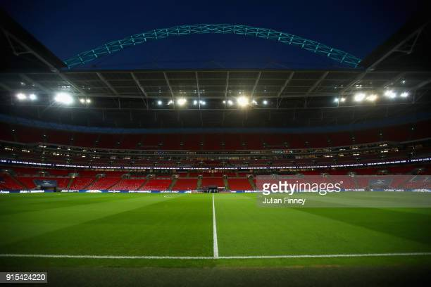 General view inside the stadium prior to The Emirates FA Cup Fourth Round Replay match between Tottenham Hotspur and Newport County at Wembley...
