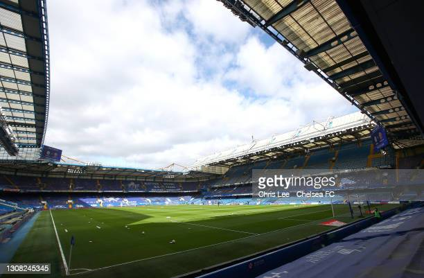 General view inside the stadium prior to the Emirates FA Cup Quarter Final match between Chelsea FC and Sheffield Untied at Stamford Bridge on March...