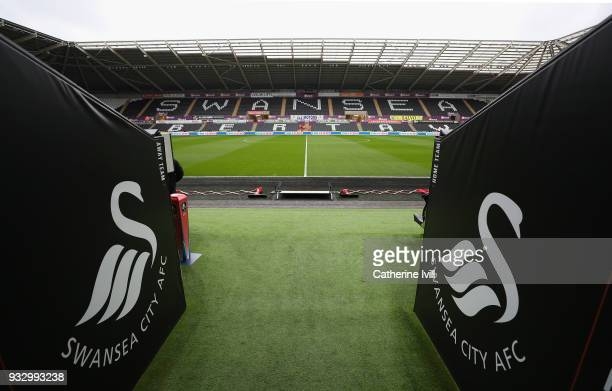 A general view inside the stadium prior to The Emirates FA Cup Quarter Final match between Swansea City and Tottenham Hotspur at Liberty Stadium on...