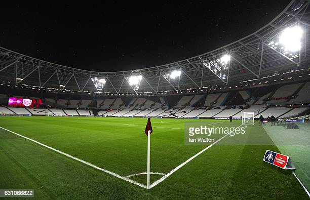 A general view inside the stadium prior to The Emirates FA Cup Third Round match between West Ham United and Manchester City at London Stadium on...