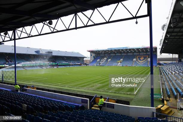 General view inside the stadium prior to the FA Cup Fourth Round match between Portsmouth FC and Barnsley FC at Fratton Park on January 25, 2020 in...