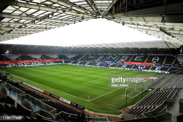 General view inside the stadium prior to the FA Cup Quarter Final match between Swansea City and Manchester City at Liberty Stadium on March 16, 2019...