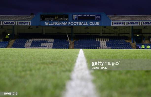 General view inside the stadium prior to the FA Cup Third Round match between Gillingham and West Ham United at MEMS Priestfield Stadium on January...