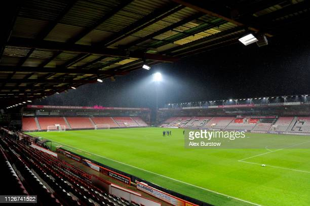 General view inside the stadium prior to the FA Youth Cup Fifth Round Match between AFC Bournemouth U18 and Aston Villa U18 at Vitality Stadium on...