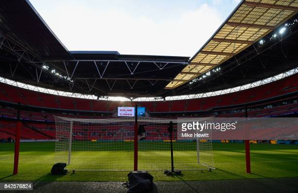 A general view inside the stadium prior to the FIFA 2018 World Cup Qualifier between England and Slovakia at Wembley Stadium on September 4 2017 in...