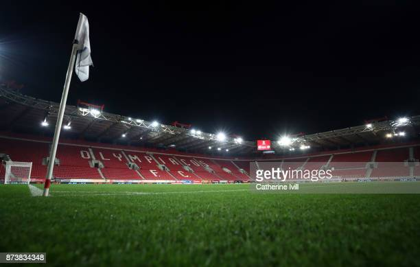 A general view inside the stadium prior to the FIFA 2018 World Cup Qualifier PlayOff Second Leg between Greece and Croatia at Karaiskakis Stadium on...