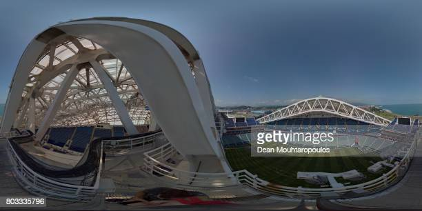 A general view inside the stadium prior to the FIFA Confederations Cup Russia 2017 SemiFinal between Germany and Mexico at Fisht Olympic Stadium on...