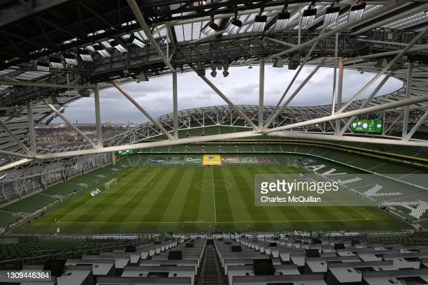 General view inside the stadium prior to the FIFA World Cup 2022 Qatar qualifying match between Republic of Ireland and Luxembourg at Aviva Stadium...