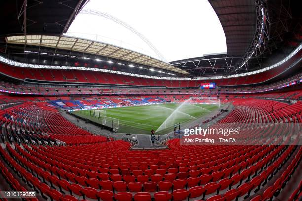 General view inside the stadium prior to the FIFA World Cup 2022 Qatar qualifying match between England and Poland on March 31, 2021 at Wembley...