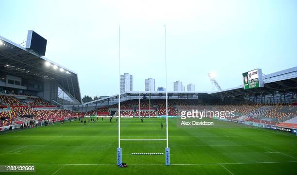 General view inside the stadium prior to the Gallagher Premiership Rugby match between London Irish and Leicester Tigers at Brentford Community...