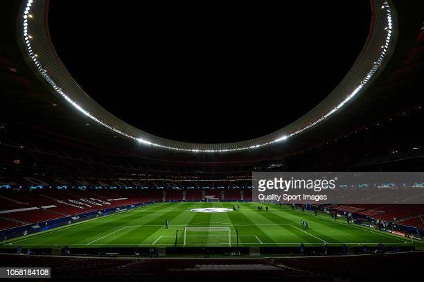 A general view inside the stadium prior to the Group A match of the UEFA Champions League between Club Atletico de Madrid and Borussia Dortmund at...