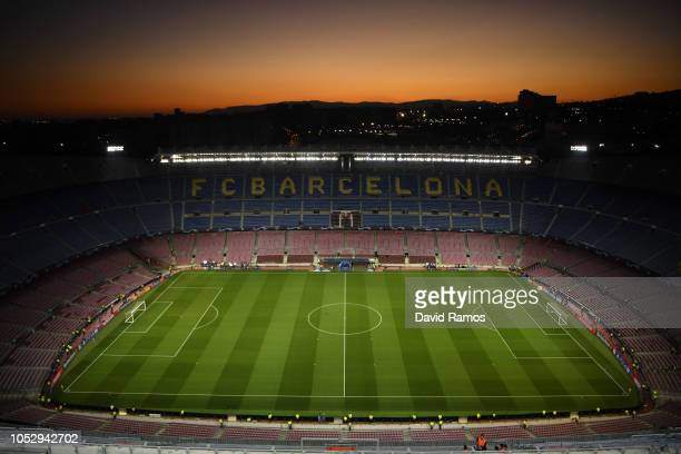 General view inside the stadium prior to the Group B match of the UEFA Champions League between FC Barcelona and FC Internazionale at Camp Nou on...