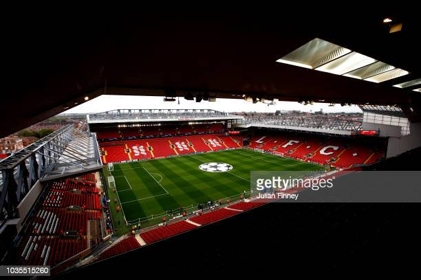 General view inside the stadium prior to the Group C match of the UEFA Champions League between Liverpool and Paris SaintGermain at Anfield on...