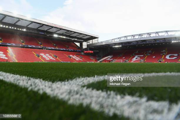 General view inside the stadium prior to the Group C match of the UEFA Champions League between Liverpool and Paris Saint-Germain at Anfield on...