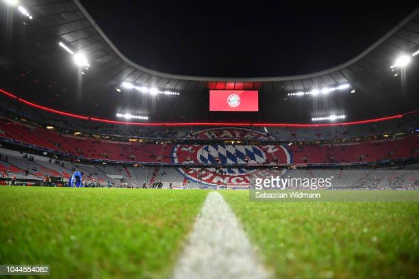 General view inside the stadium prior to the Group E match of the UEFA Champions League between FC Bayern Muenchen and Ajax at Allianz Arena on...