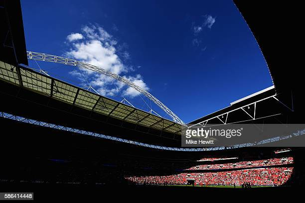 A general view inside the stadium prior to the International Champions Cup match between Liverpool and Barcelona at Wembley Stadium on August 6 2016...