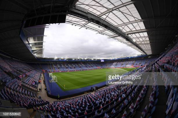 A general view inside the stadium prior to the international friendly match between England and Switzerland at The King Power Stadium on September 11...