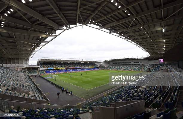 General view inside the stadium prior to the International Friendly between Northern Ireland and USA at Windsor Park on March 28, 2021 in Belfast,...