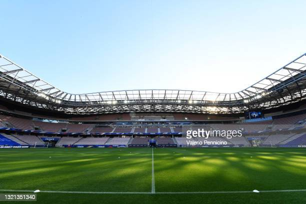 General view inside the stadium prior to the international friendly match between France and Wales at Allianz Riviera on June 02, 2021 in Nice,...