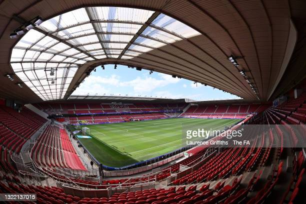 General view inside the stadium prior to the international friendly match between England and Romania at Riverside Stadium on June 06, 2021 in...