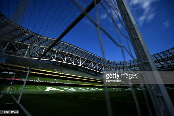 General view inside the stadium prior to the International Friendly match between the Republic of Ireland and The United States at Aviva Stadium on...