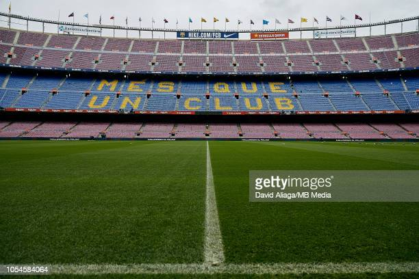 General view inside the stadium prior to the La Liga match between FC Barcelona and Real Madrid CF at Camp Nou on October 28, 2018 in Barcelona,...