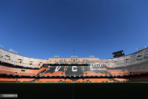 A general view inside the stadium prior to the La Liga match between Valencia CF and Club Atletico de Madrid at Estadio Mestalla on August 20 2018 in...