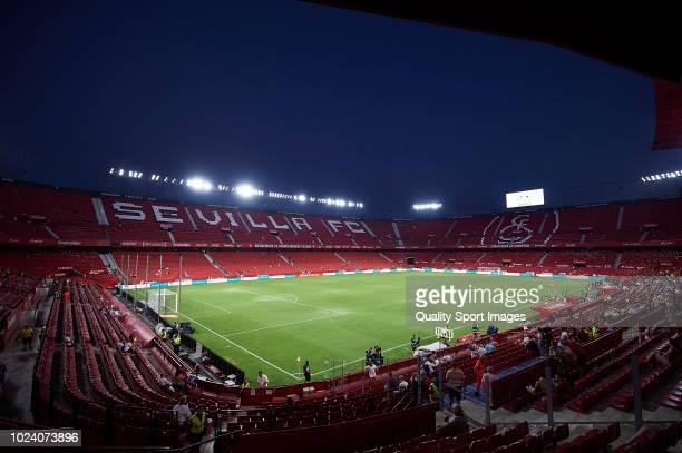 General view inside the stadium prior to the La Liga match between Sevilla FC and Villarreal CF at Estadio Ramon Sanchez Pizjuan on August 26 2018 in...