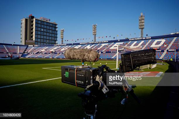 General view inside the stadium prior to the La Liga match between Levante and Celta de Vigo at Ciutat de Valencia on August 27 2018 in Valencia Spain