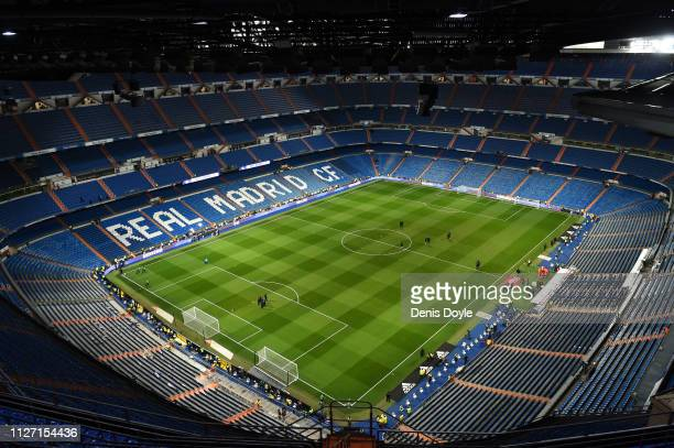 General view inside the stadium prior to the La Liga match between Real Madrid CF and Deportivo Alaves at Estadio Santiago Bernabeu on February 03,...