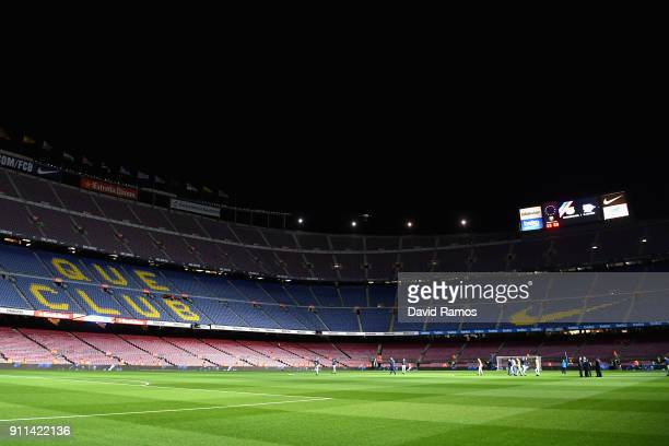 A general view inside the stadium prior to the La Liga match between Barcelona and Deportivo Alaves at Camp Nou on January 28 2018 in Barcelona Spain