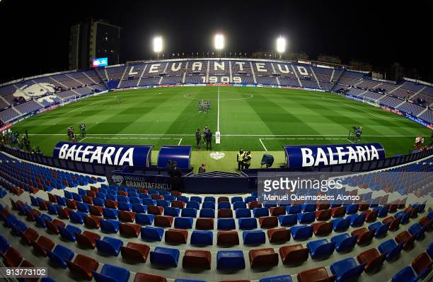 General view inside the stadium prior to the La Liga match between Levante and Real Madrid at Ciutat de Valencia on February 3 2018 in Valencia Spain