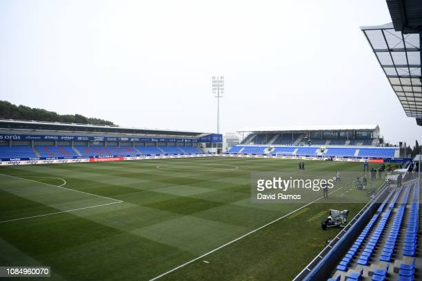 General view inside the stadium prior to the La Liga match between SD Huesca and Club Atletico de Madrid at Estadio El Alcoraz on January 19 2019 in...