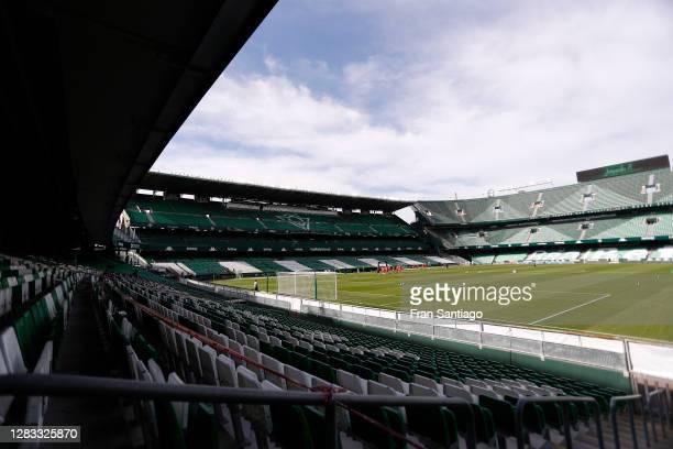 General view inside the stadium prior to the La Liga Santander match between Real Betis and Elche CF at Estadio Benito Villamarin on November 01,...