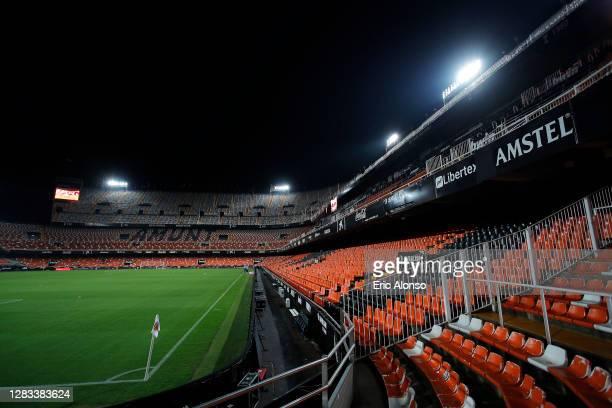 General view inside the stadium prior to the La Liga Santander match between Valencia CF and Getafe CF at Estadio Mestalla on November 01, 2020 in...