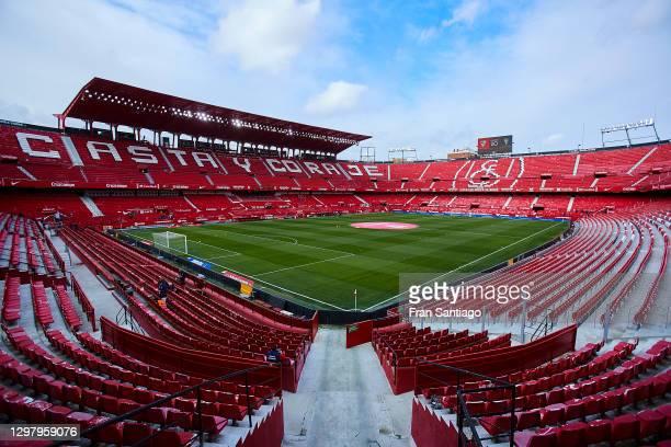 General view inside the stadium prior to the La Liga Santander match between Sevilla FC and Cadiz CF at Estadio Ramon Sanchez Pizjuan on January 23,...