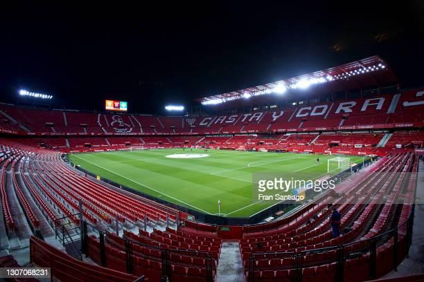General view inside the stadium prior to the La Liga Santander match between Sevilla FC and Real Betis at Estadio Ramon Sanchez Pizjuan on March 14,...