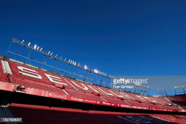 General view inside the stadium prior to the La Liga Santander match between Sevilla FC and Elche CF at Estadio Ramon Sanchez Pizjuan on March 17,...