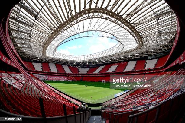 General view inside the stadium prior to the La Liga Santander match between Athletic Club and SD Eibar at Estadio de San Mames on March 20, 2021 in...